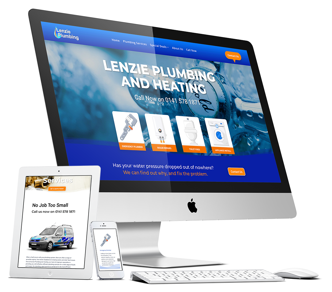 Lenzie plumbing website design by riffwave.com
